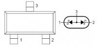 В каждой по два диода, сходятся на средней лапе, соединение анод/катод