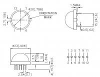DLA/6SGD Светодиод 20мм     12 выводов   Высокая...