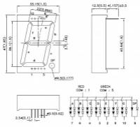 SBA15-11EGWA 7-сегментный двухцветный цифровой индикатор с...